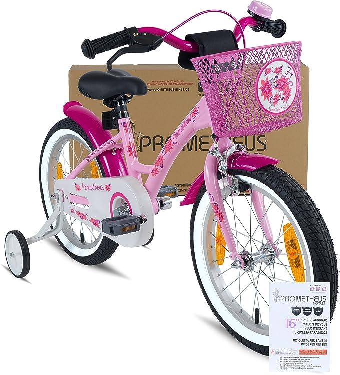 Prometheus Bicicleta Infantil para niña | 16 Pulgadas | Rosa Lila ...