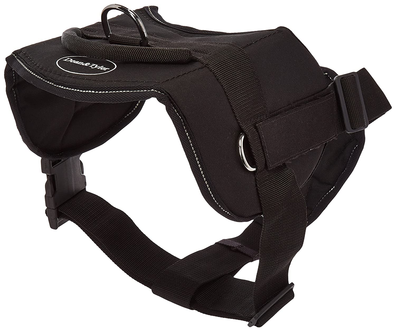 Dean & Tyler Black with Reflective Trim Fun Dog Harness with Padded Chest Piece, Narcotics K9, X-Large, Fits Girth Size 34-Inch to 47-Inch