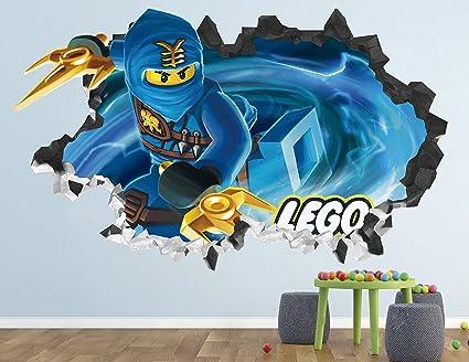 Lego Ninjago Blue Jay Wall Decal Smashed 3D Sticker Vinyl Decor Mural Art Kids Movie