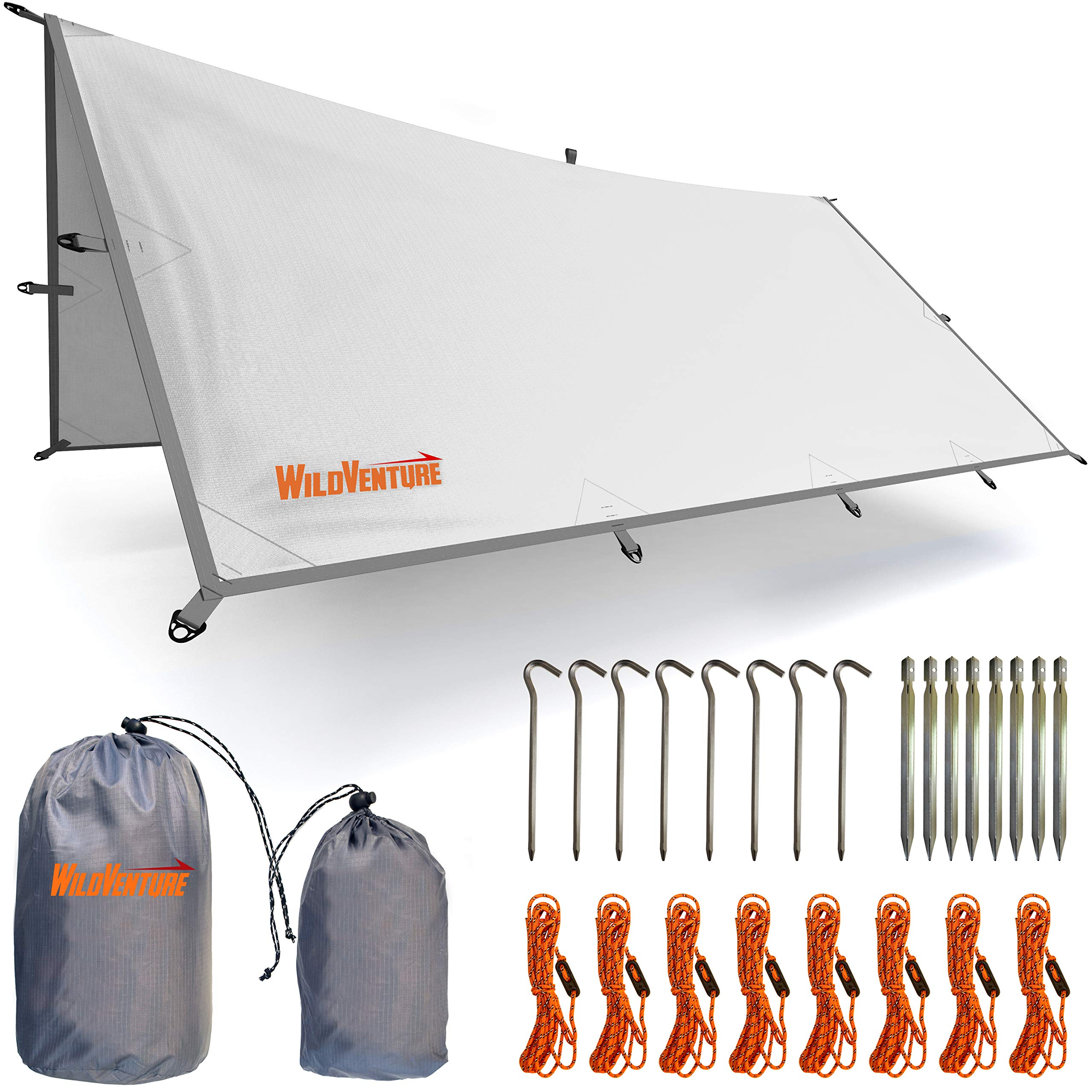 WildVenture Tent Tarp Rain Fly - Waterproof Lightweight Survival Gear Shelter for Camping, Backpacking, and Outdoor Living - 9.8' x 9.3' Tarp Tent (White) by WildVenture