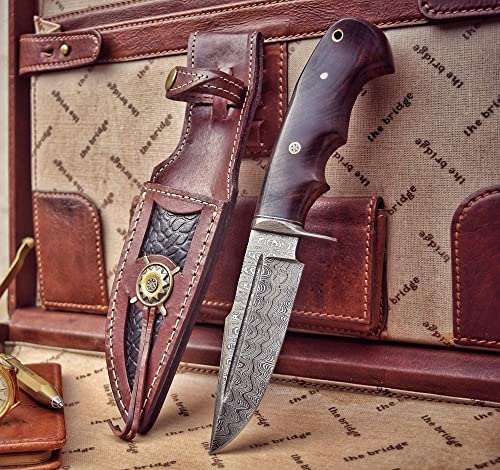 Bobcat Knives – 10-inch Overall, Rocky, Hunting Bowie Knife – Full Tang Fixed Blade Damascus Steel – Walnut Wood Handle with Leather Sheath