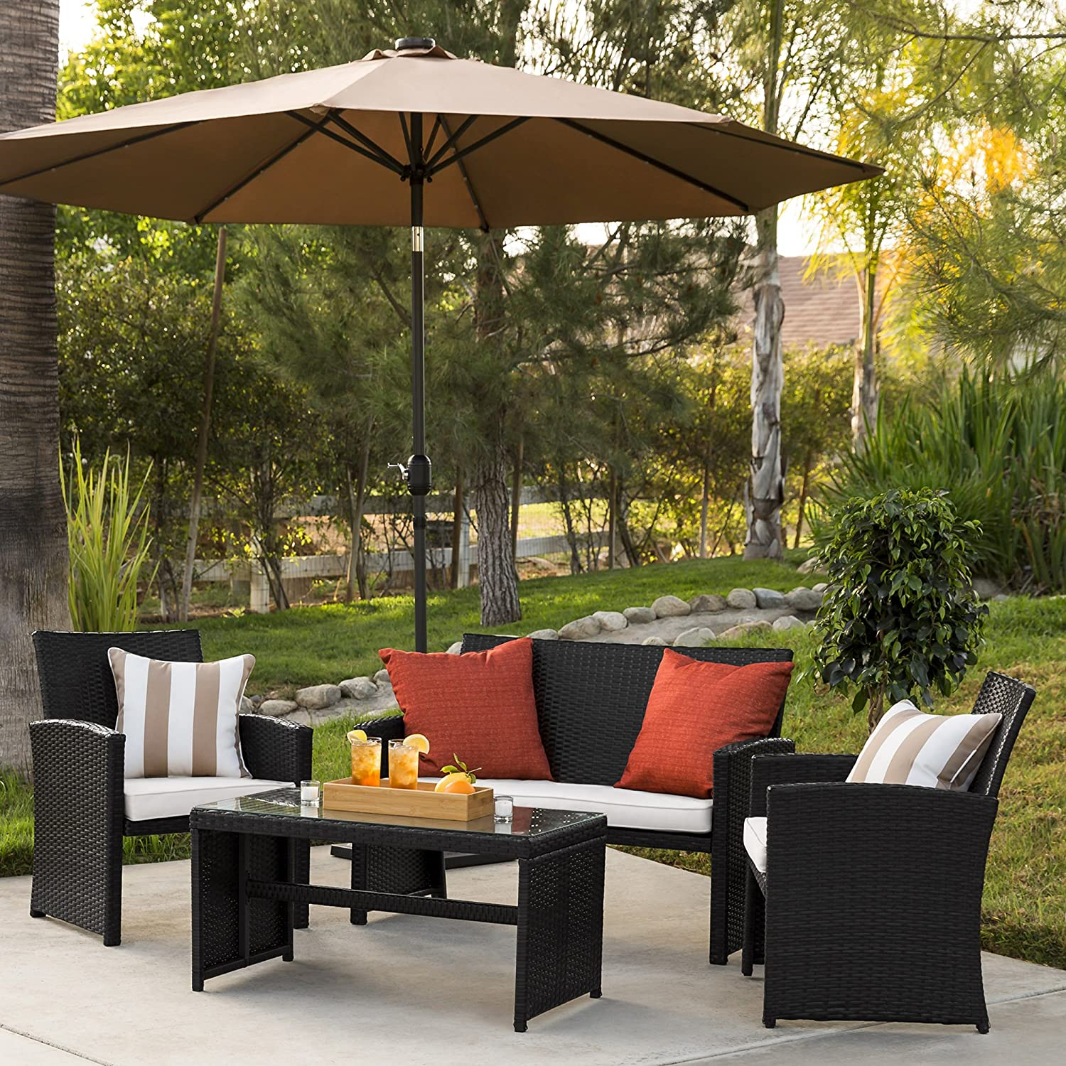 Best Choice Products 4-Piece Wicker Patio Conversation Furniture Set with 4 Seats and Tempered Glass Top Table, Black
