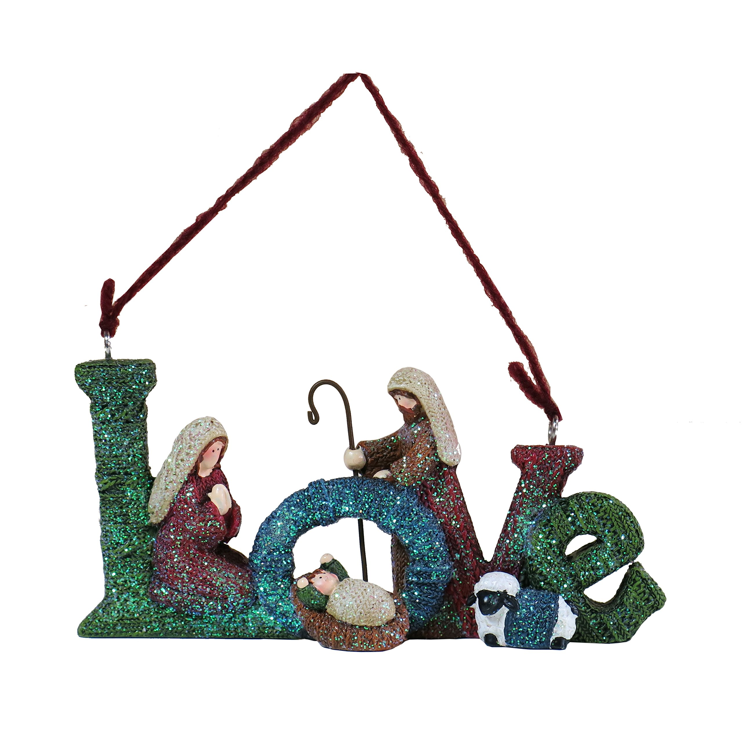 Lee's Home Nativity Knitting Finish ''Love'' with Holy Family Ornament by Lee's Home