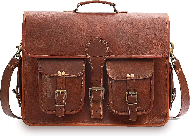 Best fit for Laptops up to 18 Inches GearFourth Leather Messenger Bag for Men 18 Inch Vintage Handmade Genuine Leather Messenger Laptop Briefcase Shoulder Satchel Bag for Men