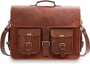 GearFourth Leather Messenger Bag for Men - 18 Inch Vintage Handmade Genuine Leather Messenger Laptop Briefcase Shoulder Satchel Bag for Men - Best fit for Laptops up to 18 Inches