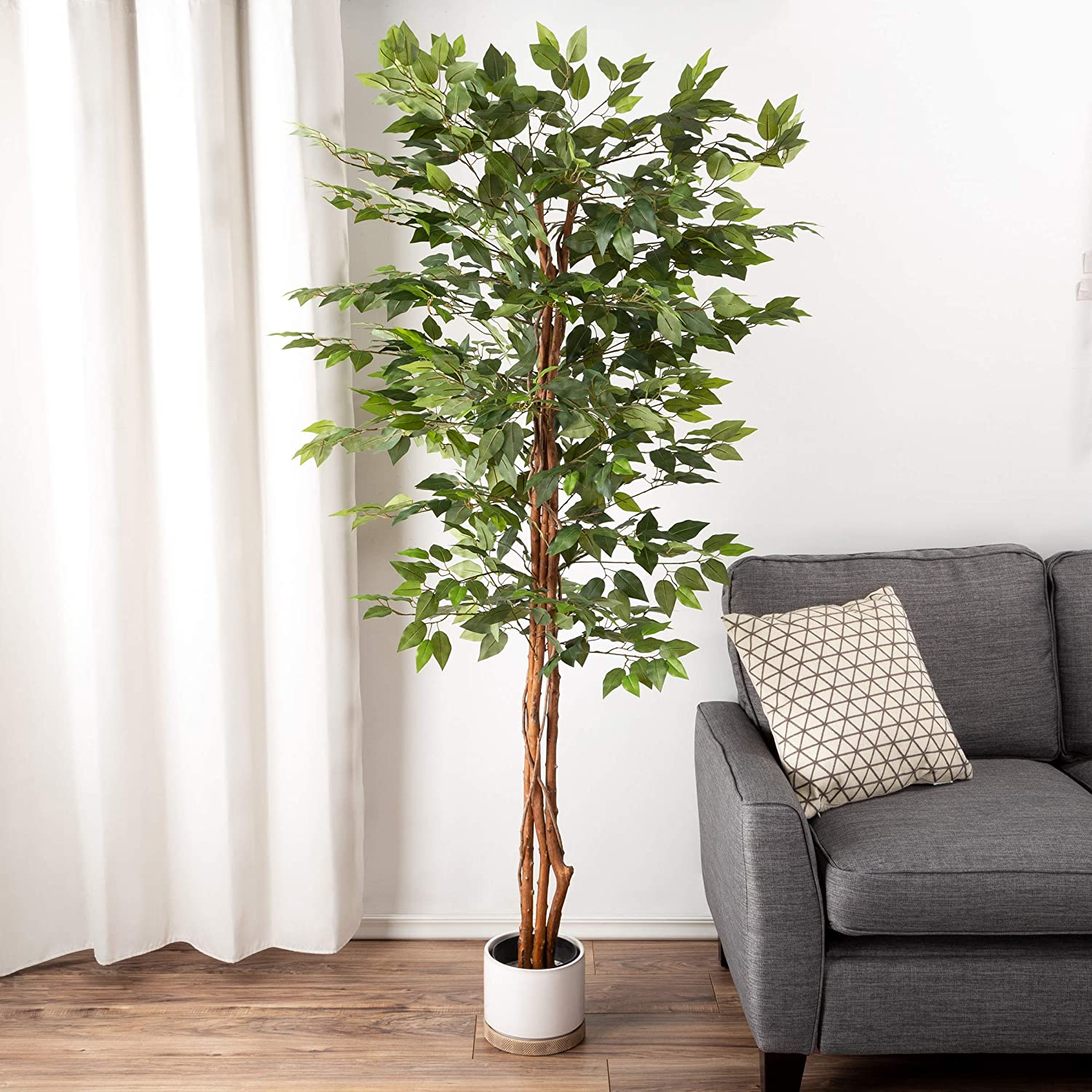 Pure Garden Artificial Ficus Tree-80-Inch Potted Silk Tree for Home or Office Decoration-Indoor Faux Plant with Natural Looking Greenery, Green