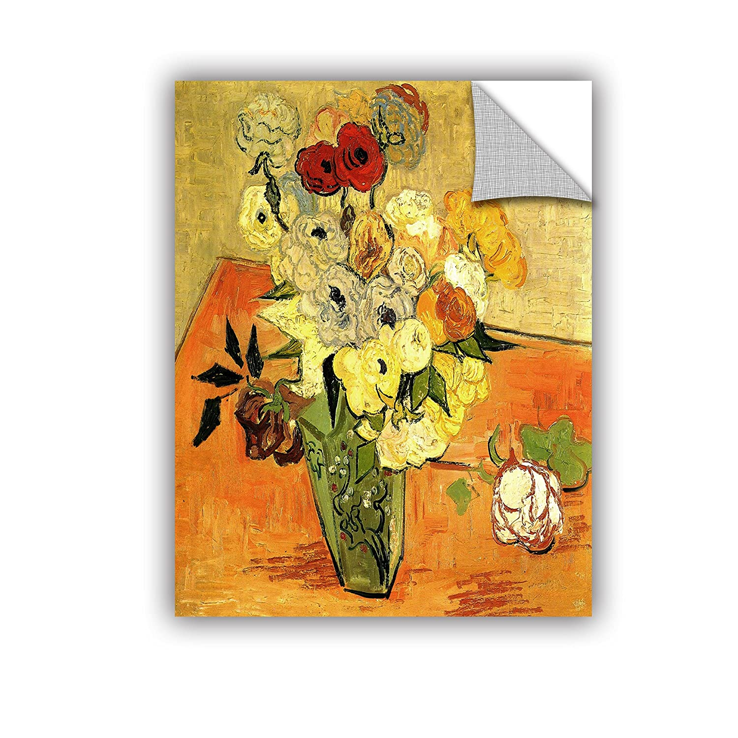 ArtWall Vincent Van Goghs Japanese Vase with Roses and Anemones Appeals Removable Wall Graphic Artwork 14 by 18-Inch