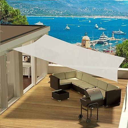 Resistente e Traspirante Cool Area Tenda a Vela Triangolo Rettangolo 3.5 x 3.5 x 4.9 Metri Protezione Raggi UV Colore Sabbia