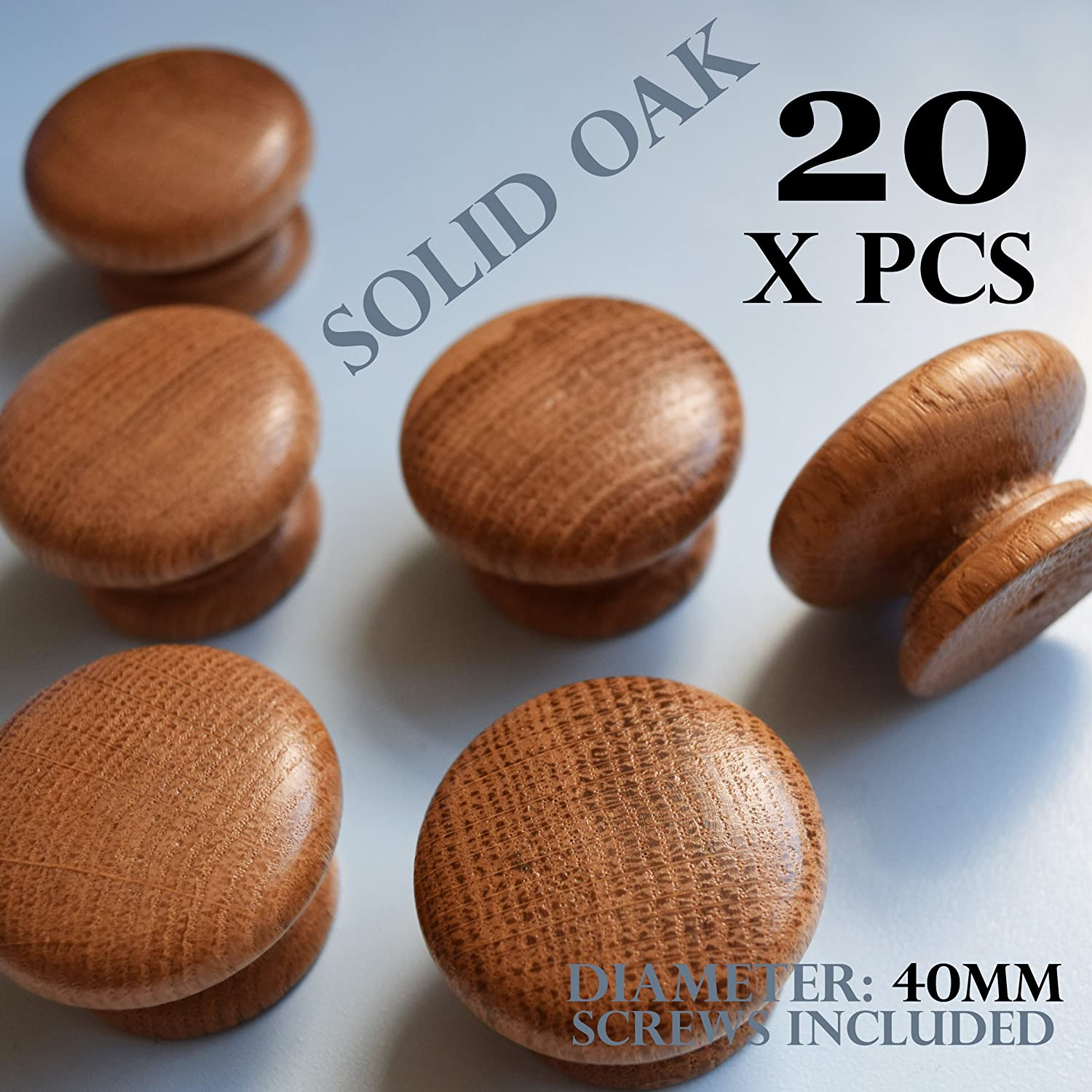 20 x wooden oak kitchen door knobs cabinet cupboard 40 mm diameter   Amazon co uk  Kitchen   Home20 x wooden oak kitchen door knobs cabinet cupboard 40 mm diameter  . Oak Cupboard Door Knobs Uk. Home Design Ideas