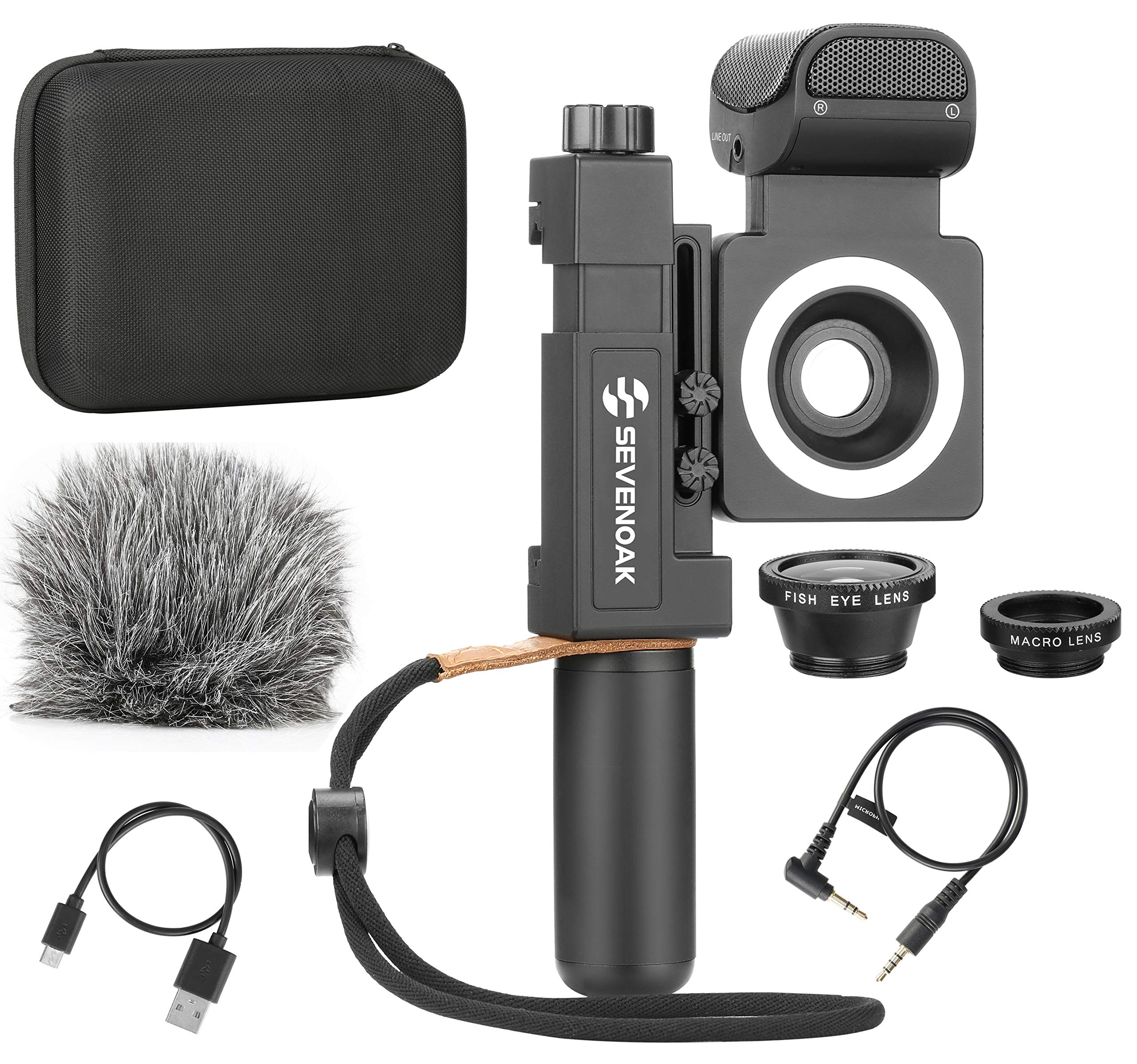 Sevenoak SmartCine by Movo - Complete Universal Smartphone Video Kit with Phone Rig, Built-in Stereo Microphone and LED Light, Wide-Angle and Fisheye Lenses - Compatible with iPhone and Android Smartp