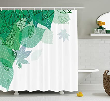Ambesonne Mint Shower Curtain Hello Spring Theme With Tropical Leaves Field Environment Forest Nature Woods
