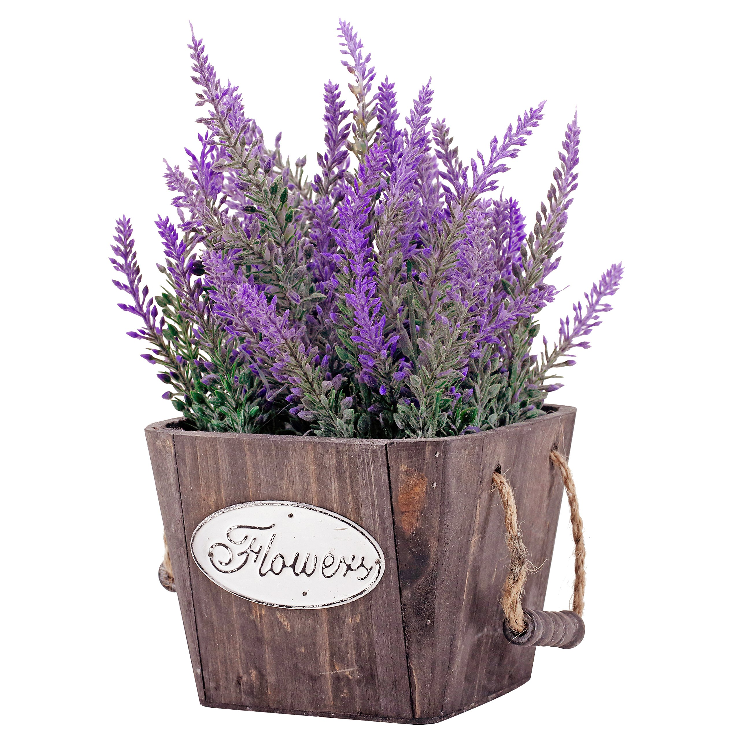 Small Artificial Lavender Plant in Country Rustic Wood Flower Planter with Rope Handles