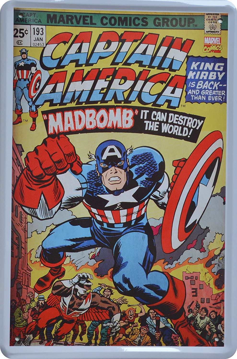 Cartel de chapa Marvel Comic Captain America Madbomb Retro ...
