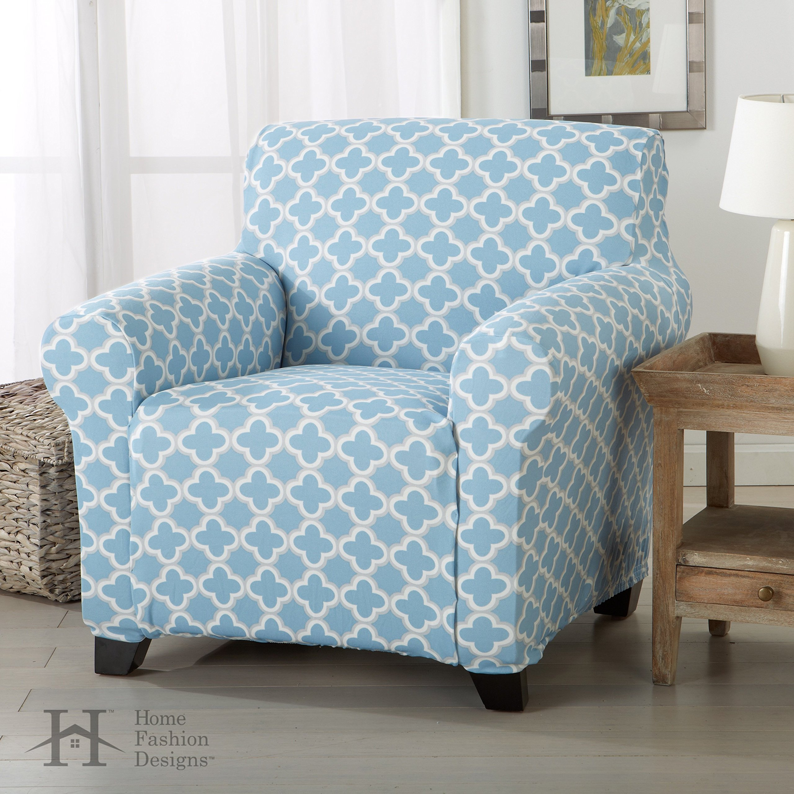 Home Fashion Designs Form Fit, Slip Resistant, Stylish Furniture Cover/Protector Featuring Lightweight Stretch Twill Fabric. Brenna Collection Basic Strapless Slipcover. By Brand. (Chair, Sky Blue)