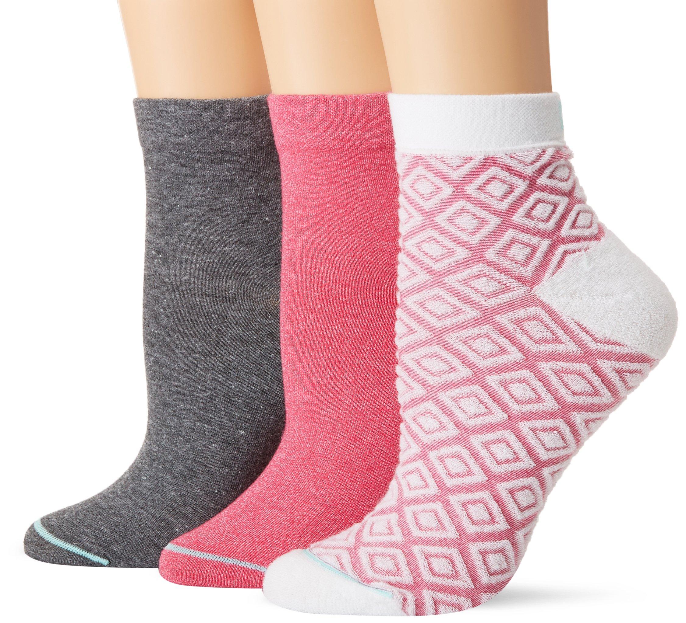 HUE Women's Green Repreve Diamond Knit Quarter Top Socks, 3 Pair Pack, Pink Flirt Pack, One Size