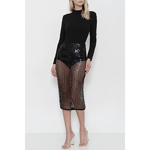 ea08ef434d Image Unavailable. Image not available for. Color: BLACK SEQUIN MIDI SKIRT  SET