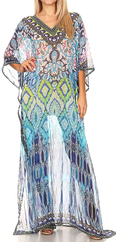 0d249ffe230f8 Sakkas P4 - LongKaftan Wilder Printed Design Long Semi Sheer Caftan Dress/Cover  Up - 17143-BlackTurquoise - OS at Amazon Women's Clothing store: