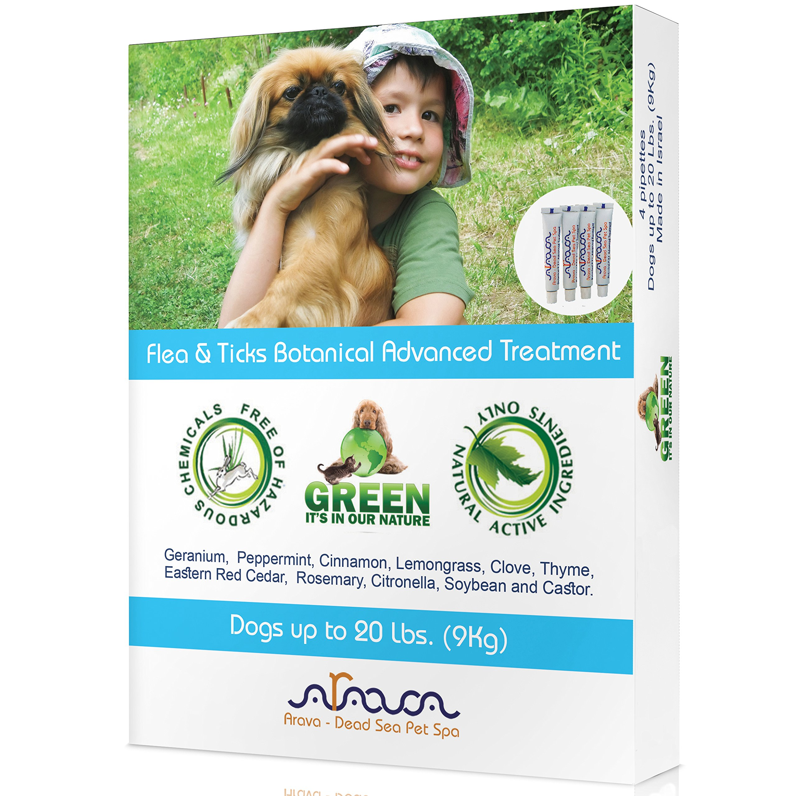 Arava Flea & Tick Control Drops - Treatment for Dogs - 4-Doses - Natural Aromatherapy Medicated - Repels Pests with Natural Oils - Safe on Skin and Coats - Enhanced Defense & Prevention (3 Variations)