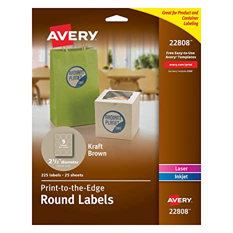 amazon com avery print to the edge kraft brown round labels 2 1