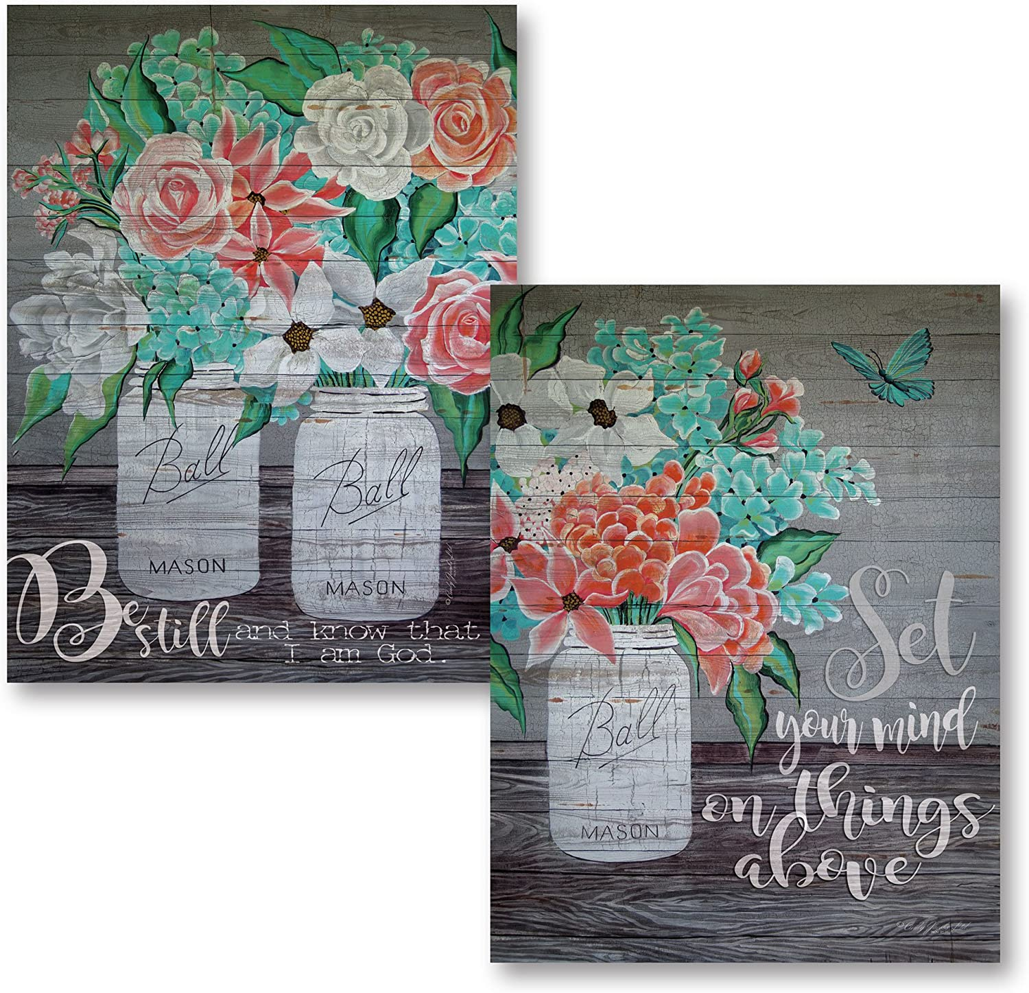 Gango Home Decor Country-Rustic Be Still and Know that I am God & Set Your Mind on Things Above by Cindy Jacobs (Printed on Paper); Two 12x16in Unframed Paper Posters