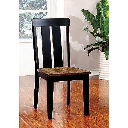 Furniture Of America Lara Farmhouse Style Two Tone Antique Oak U0026 Black  Dining Chair (
