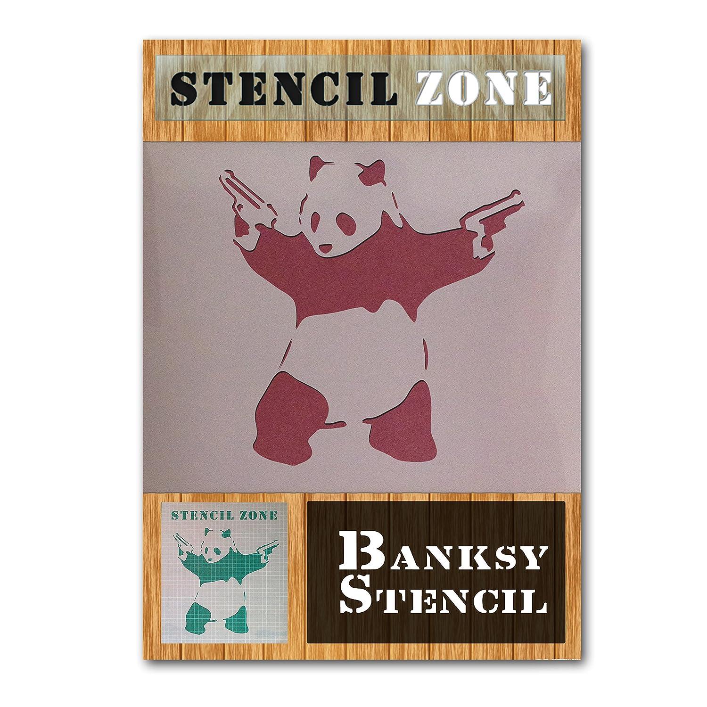 Banksy Panda With Gun Mylar Airbrush Painting Wall Art Stencil (A1 Size Stencil - Xlarge) STENCIL ZONE