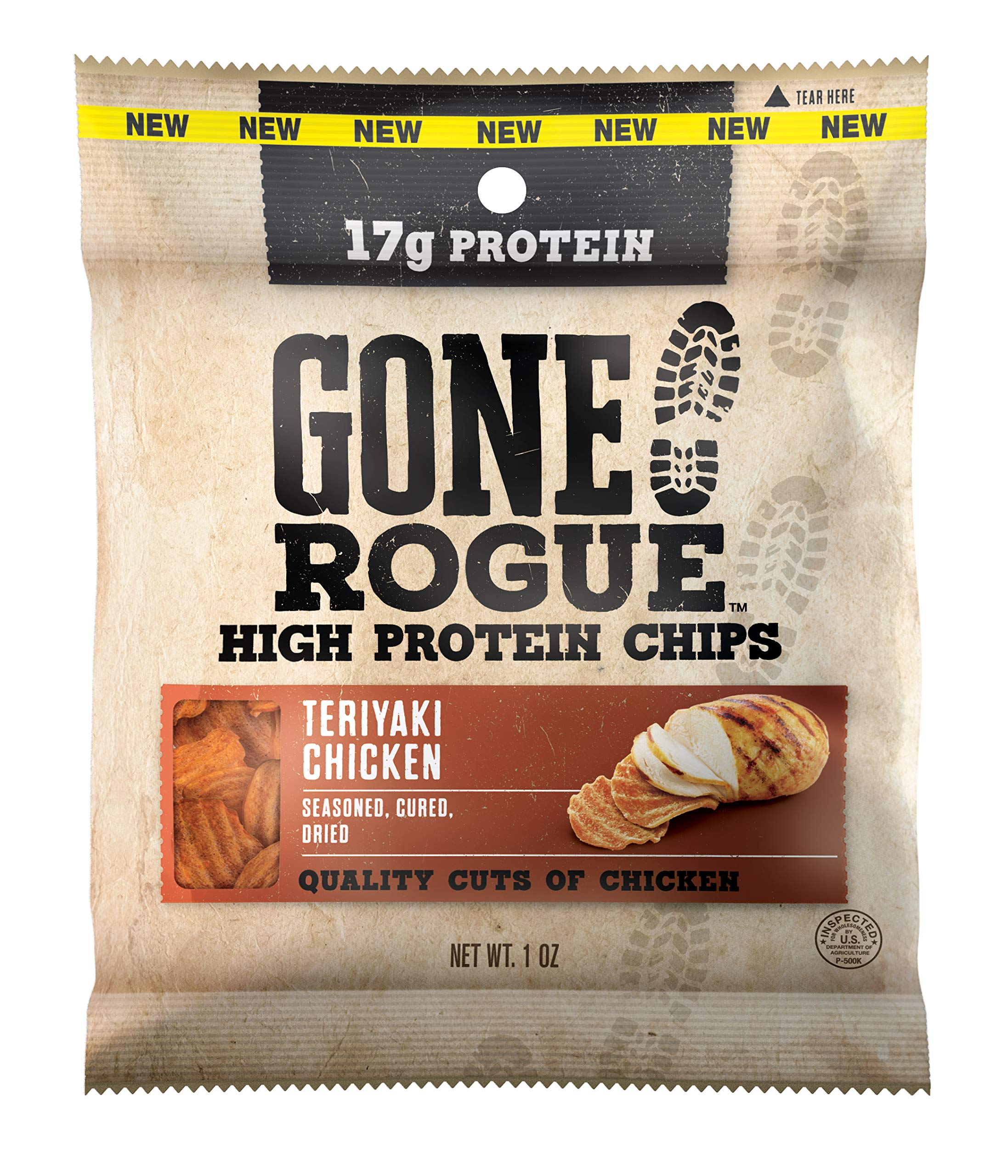 Gone Rogue High Protein Teriyaki Chicken Chips | Low Carb, Gluten Free Snacks | 4 pack