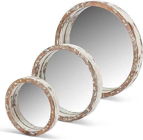 Lone Elm 94149 White Wood Round Mirrors Set of 3 , 22 x 19 x 2