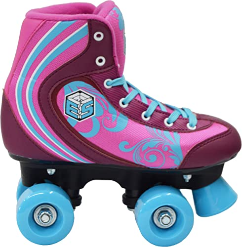 New Epic Cotton Candy Quad Roller Skates w 2 Pr. Laces Pink Blue