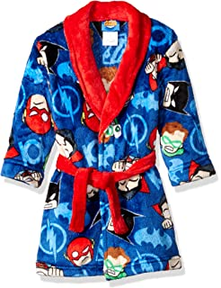 Justice League Boys Big Print Velvet Fleece Robe Navy X-Small K183323JL