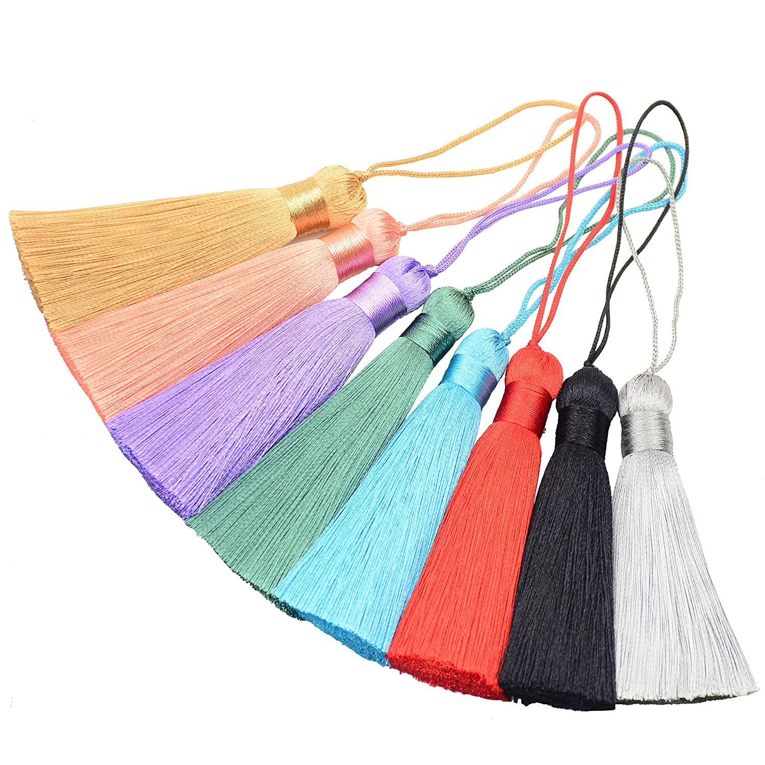 Souvenir, Black Makhry 8pc 16cm//6.29 inch Cute Chunky Tassels Soft Elegant Handmade Silky Floss Tassels with 2.75 Inch Cord Loop and Chinese Knot for Woman Earrings Jewelry Making