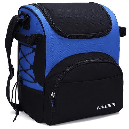 MIER Large Insulated Lunch Bag Picnic Cool Bag for Men and Women, with Bottle Holder, Adjustable Shoulder Strap, Blue