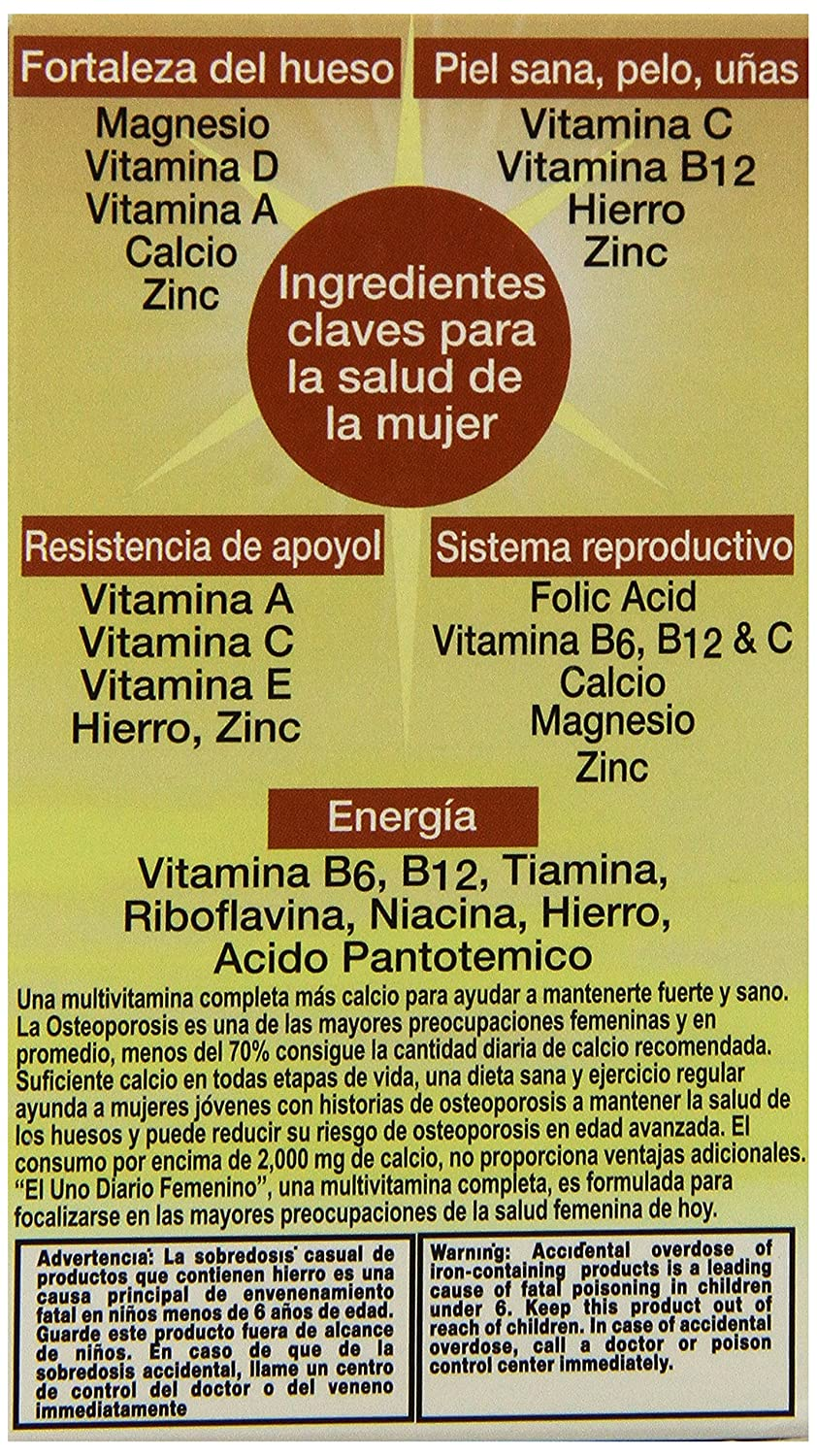 Amazon.com: Uno Diario Women Multivitamin Tablets, 100-Count (Pack of 3): Health & Personal Care