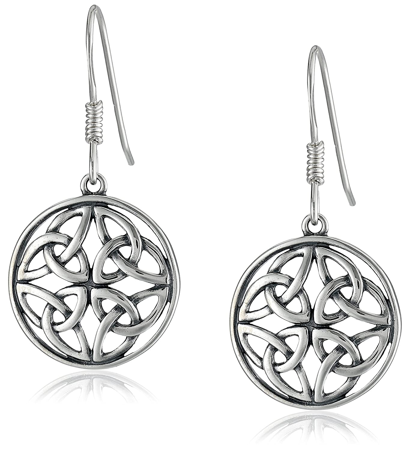 plated sterling celtic knot silver shepherd rhodium earrings product hook polished