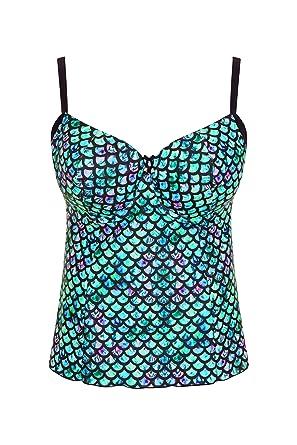 06983c142e Mermaid Plus Size Tankini top Swimsuit Swimdress at Amazon Women's ...
