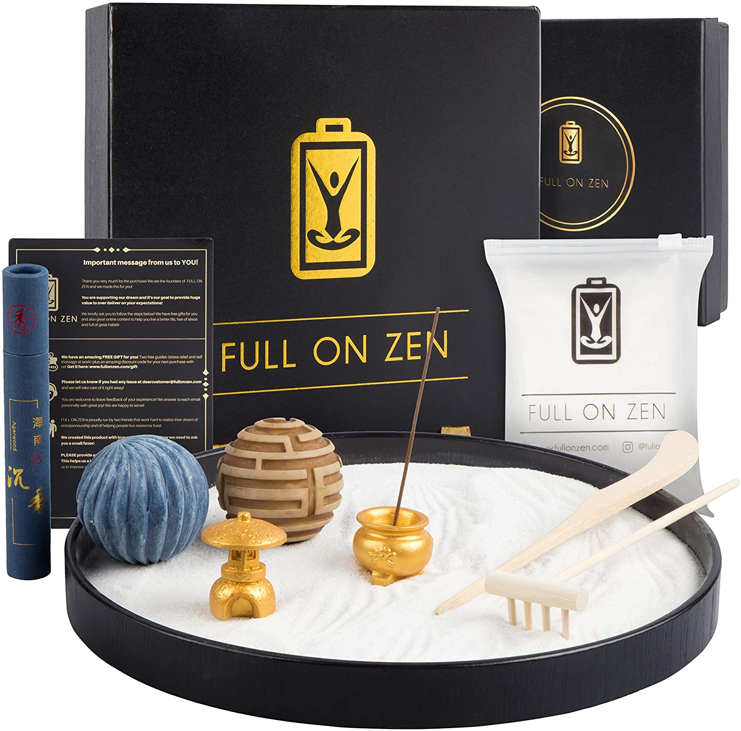 Zen Garden – Incense Kit, Pagoda Temple, White Sand, Rake tools Set and Flow Balls – Japanese Desk Sand Garden to Improve Concentration and Mindulness – Meditation Zen Desk Garden