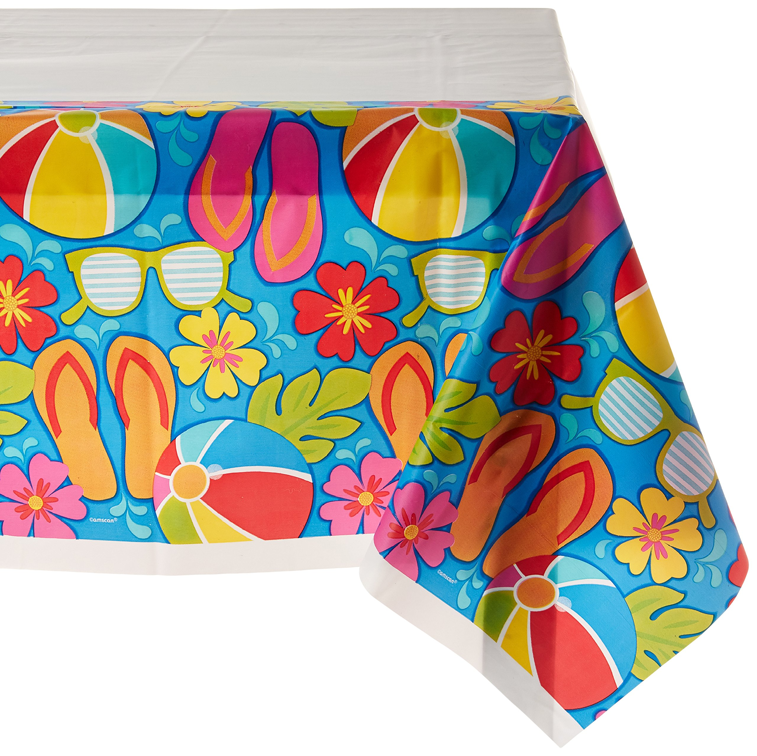Amscan Summer Splash Table Cover, 1 Piece, Made from Plastic, Any Party, 54'' x 102'' by