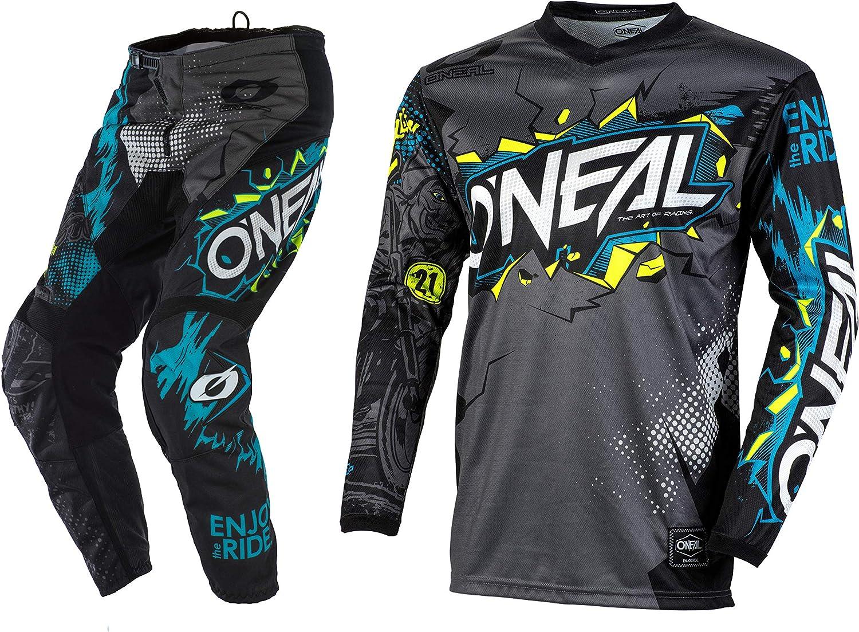 O'Neal Racing Element Villain Grey Motocross Dirt bike Offroad MX Jersey Pants Combo Package Riding Gear Set