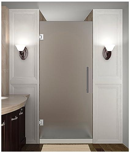 Frameless Hinged Shower Door And Panel.Aston Cascadia Completely Frameless Frosted Glass Hinged Shower Door 34 X 72 Chrome