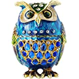 Hand- Painted Owl Trinket Box with Rich Enamel and Sparkling Rhinestones Jewelry Trinket Box (Multi)