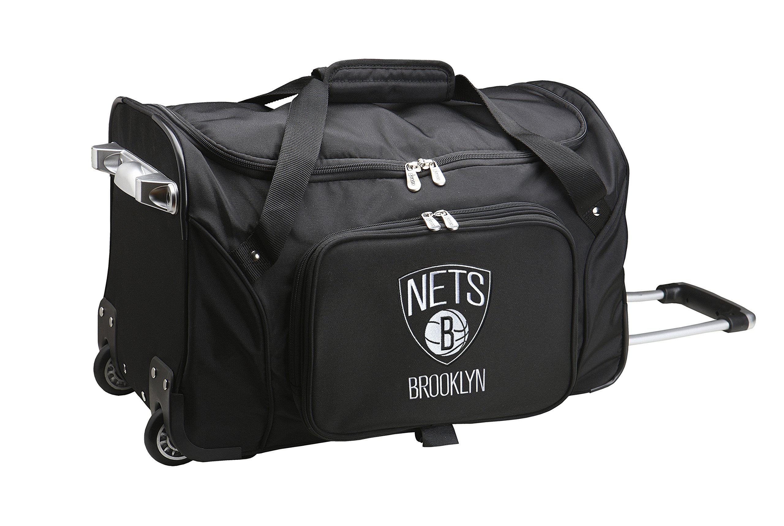 NBA Brooklyn Nets Wheeled Duffle Bag, 22 x 12 x 5.5'', Black