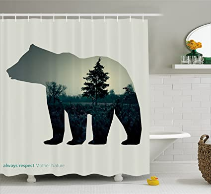 Ambesonne Cabin Shower Curtain Line Icon Of Bear And Always Respect Mother Nature Text Dark