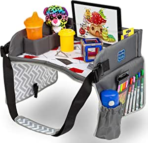Kids Travel Play Tray by KENLEY KIDS   Car Seat Activity Tray   Waterproof, Food & Snack Tray with Tablet/iPad/Cup Holder   Back Seat Organizer   Padded & Portable