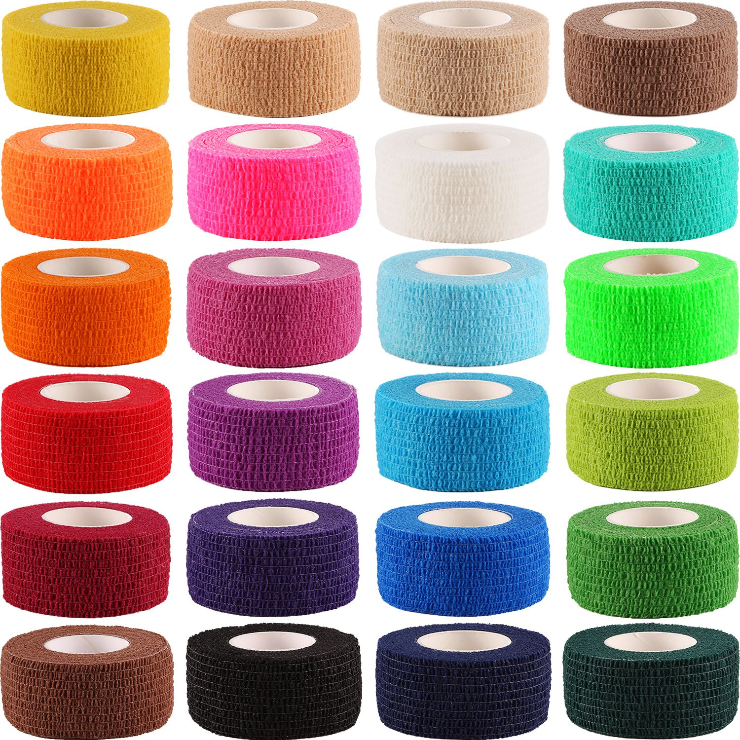Frienda 24 Pieces Adhesive Wrap Bandage Rolls Self-Adherent Tape for Sports, Wrist and Ankle, 5 Yards (24 Colors, 1 inch) by Frienda