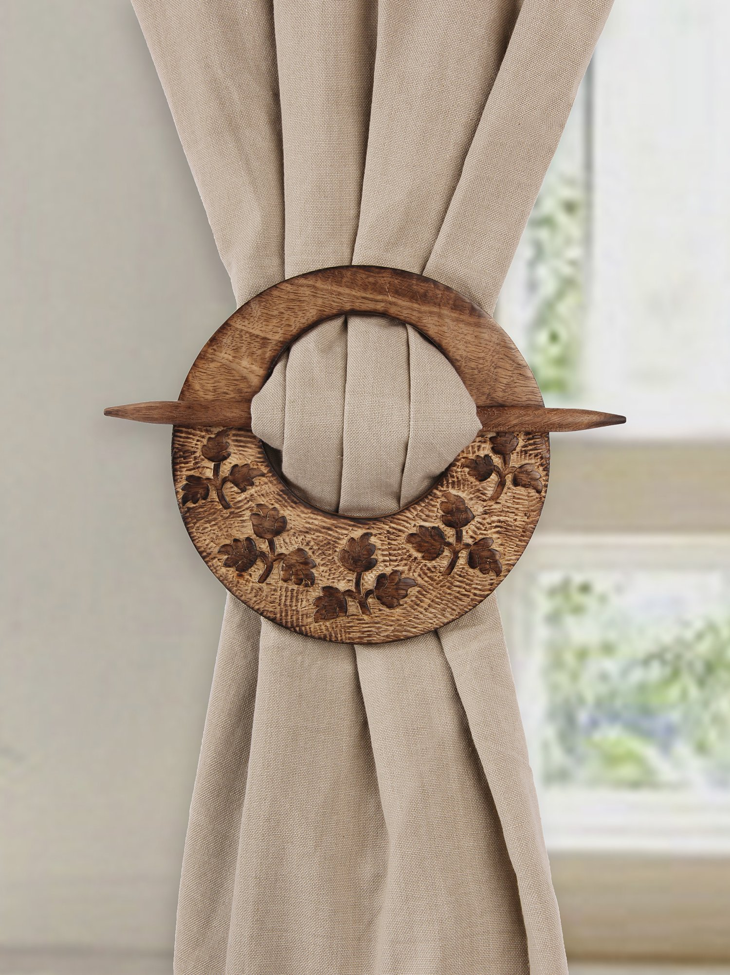 Wooden Hand Carved Curtain Tiebacks Holdbacks for Draperies Set of 2 Window Treatment Drape Binds Home Office Decor - Aheli