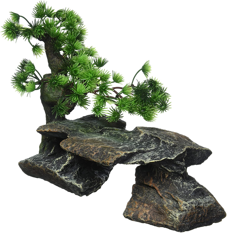 Pen Plax Bonsai Tree on Rocks Style 1 Aquarium Decor