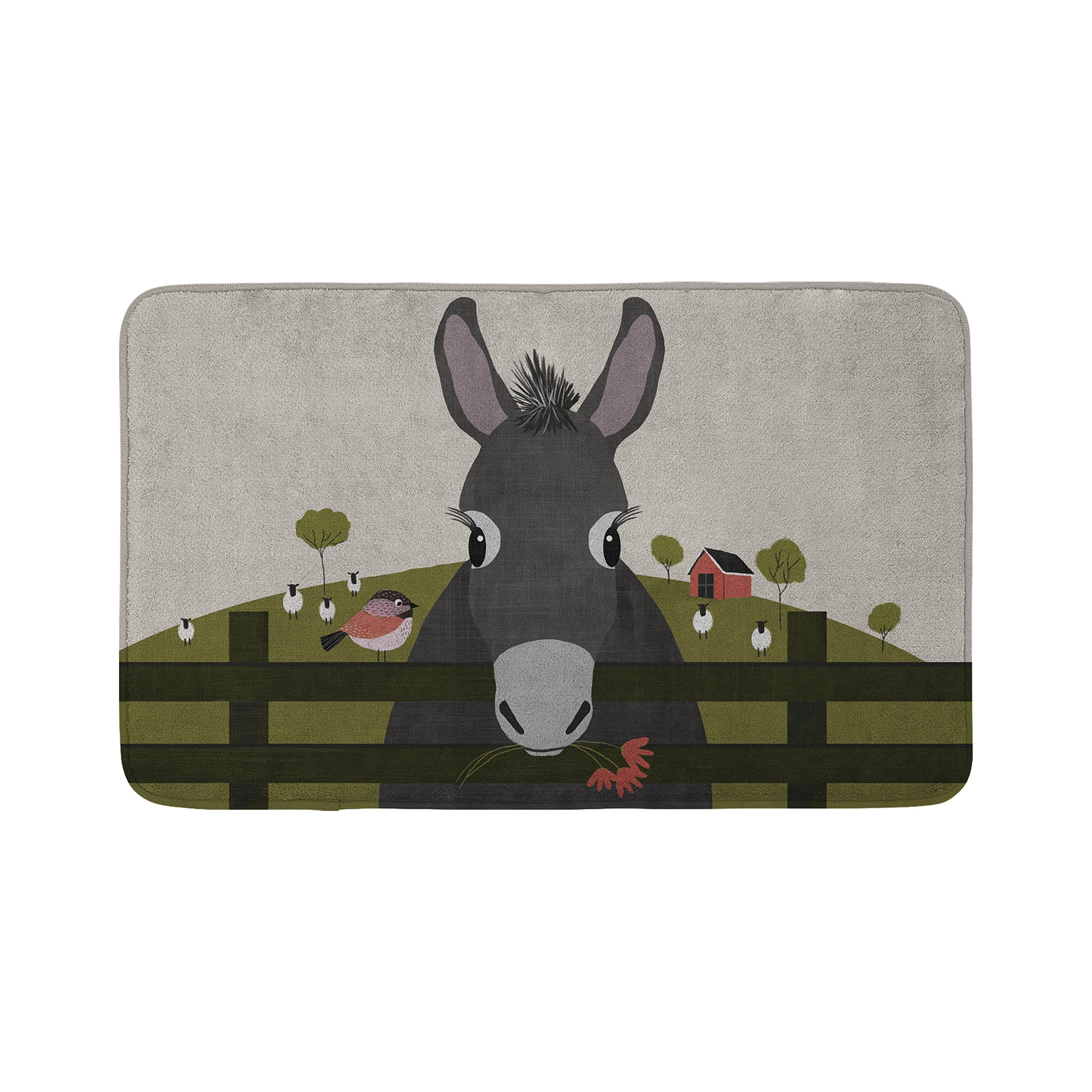 Mouse + Magpie Dolores the Donkey Farm Animal Bath Mat, Skid-Proof, Memory Foam, Soft, Quick-Dry Microfiber, 31''x19'' for Toddler, Kid, Child Bathroom
