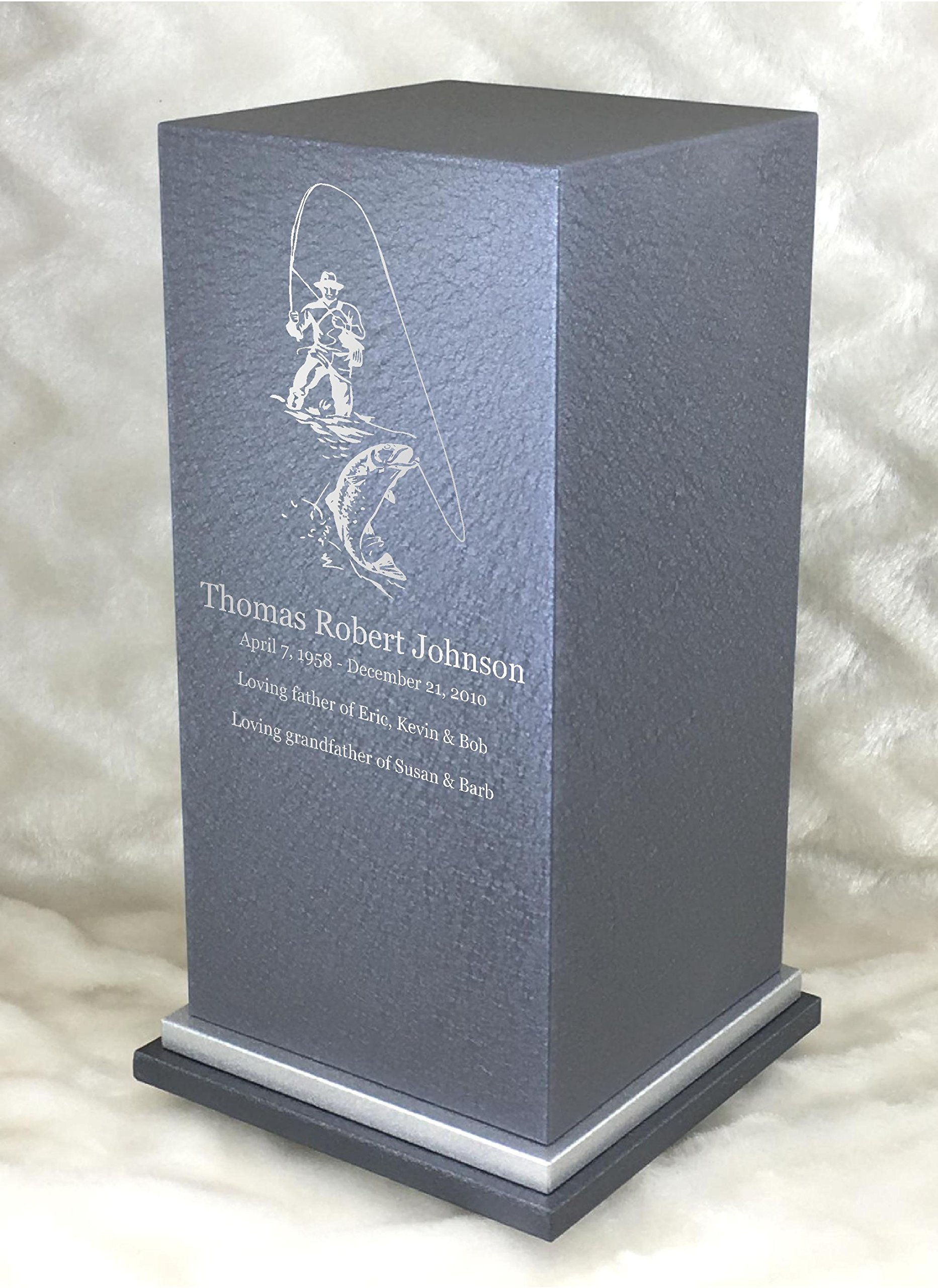 PERSONALIZED Engraved Fisherman Cremation Urn for Human Ashes-Made in America-Handcrafted in the USA by Amaranthine Urns- Adult Funeral Urn up to 200 lbs living weight -Eaton SE- (Slate Grey)