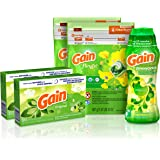 Gain Laundry Bundle (68 loads): Gain Flings Laundry Detergent Pacs (2x35ct), Gain Dryer Sheets (2x34ct), Gain Fireworks Laundry Scent Booster Beads (19.5oz)