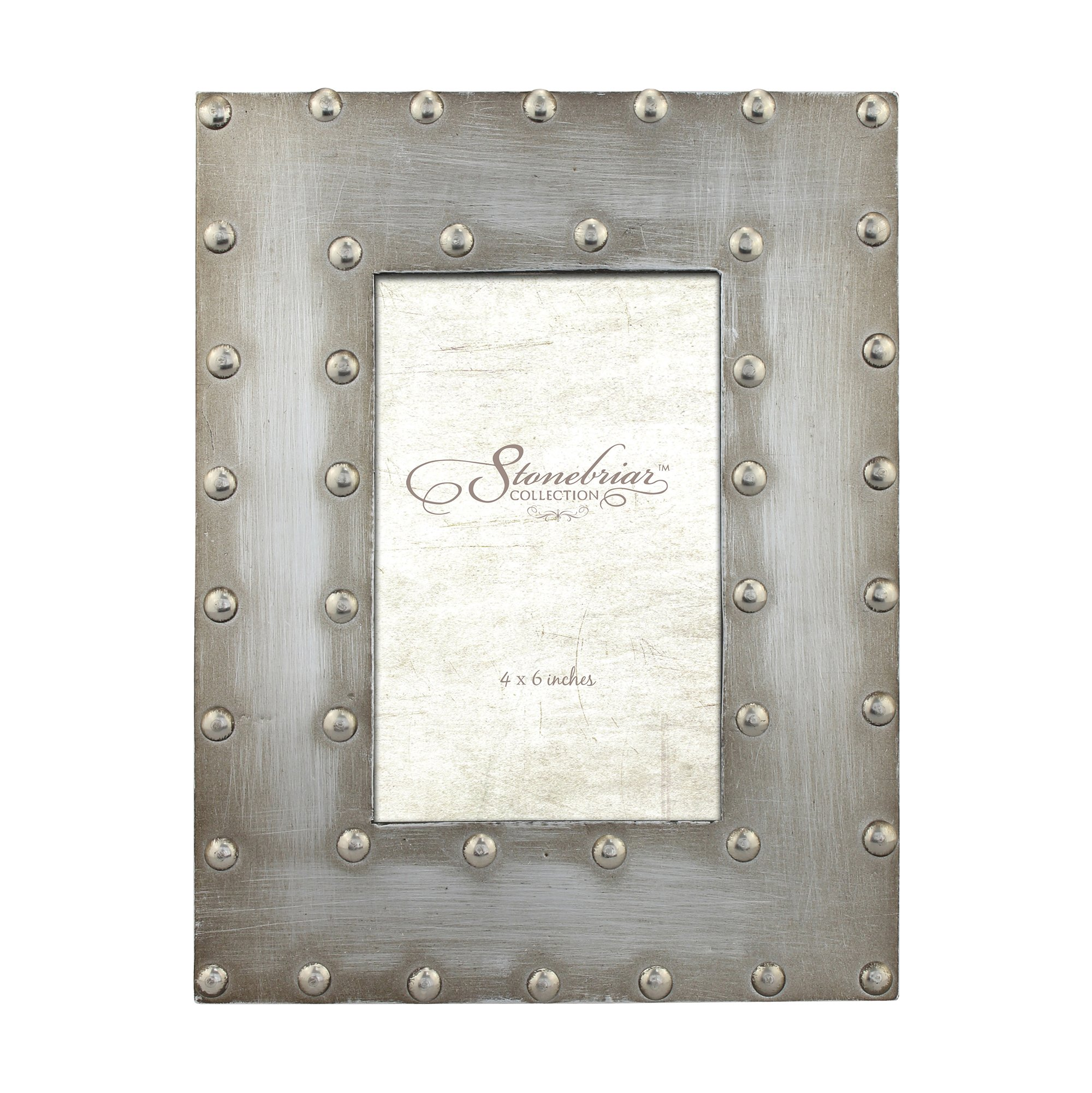 Stonebriar Industrial Distressed Metal Photo Frame with Rivet Detail, Decorative Picture Frame for Table Top or Wall Hanging Display, 4x6 by Stonebriar